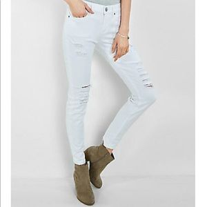 Express mid rise white distressed legging